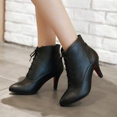 Frauen PU Stöckel Absatz Absatzschuhe Stiefel Stiefelette mit Zuschnüren Schuhe (088137537)