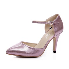 Leatherette Stiletto Heel Pumps Closed Toe With Buckle shoes (085052689)