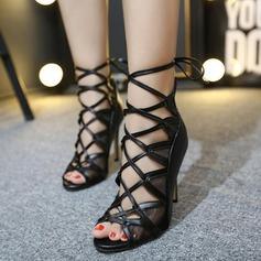 Frauen Kunstleder Stöckel Absatz Stiefel Peep Toe Stiefelette mit Zuschnüren Hohl-out Schuhe (088111795)