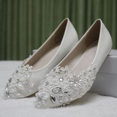 Frauen Kunstleder Flascher Absatz Geschlossene Zehe Flache Schuhe mit Nachahmungen von Perlen Strass Stich Spitzen (047149253)