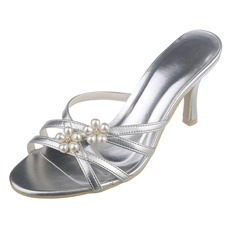 Frauen Kunstleder Stöckel Absatz Peep Toe Absatzschuhe Sandalen mit Nachahmungen von Perlen (047061215)