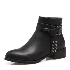 Frauen PU Niederiger Absatz Stiefel Stiefelette mit Niete Schnalle Reißverschluss Schuhe (088146329)
