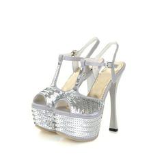 Satäng Spool Heel Sandaler Plattform med Paljetter skor (087023585)