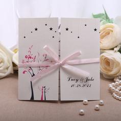 Personalizzato Stile Floreale Gate-Fold Invitation Cards con Nastri (Set di 50) (114050674)