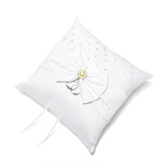 Ring Pillow in Satin With Bow/Rhinestones (103018423)