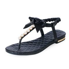 Echt leer Flat Heel Sandalen Flats met Strik Imitatie Parel schoenen (087047500)
