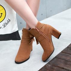 Frauen Veloursleder Stämmiger Absatz Absatzschuhe Stiefelette mit Bowknot Reißverschluss Schuhe (088145066)