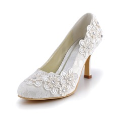 Women's Lace Stiletto Heel Closed Toe Pumps With Rhinestone Flower (047042433)