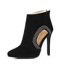 Frauen Veloursleder Stöckel Absatz Stiefel Stiefelette mit Strass Schuhe (088098807)
