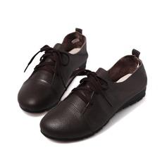 Echtleder Flascher Absatz Flache Schuhe Geschlossene Zehe mit Zuschnüren Schuhe (086042583)