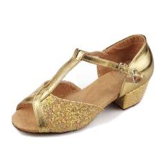 Kvinnor Konstläder Glittrande Glitter Sandaler Latin Bal med T-Rem Dansskor (053009740)