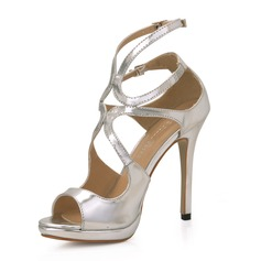 Patent Leather Stiletto Heel Sandalen Plateau Peep Toe schoenen (087017926)