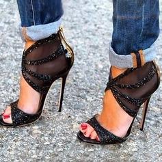 Donna Similpelle Tacco a spillo Stiletto Punta aperta con Paillette Cerniera scarpe (087171523)