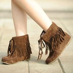 Frauen Veloursleder Flascher Absatz Flache Schuhe Geschlossene Zehe Stiefel Stiefelette Schneestiefel mit Quaste Schuhe (088126568)