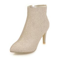 Frauen Funkelnde Glitzer Stöckel Absatz Absatzschuhe Stiefel Stiefel-Wadenlang mit Reißverschluss Schuhe (088143757)