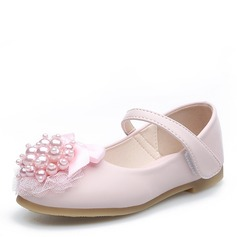 Mädchens Round Toe Geschlossene Zehe Leder Flache Ferse Blumenmädchen Schuhe mit Perlstickerei Bowknot Klettverschluss Blume (207121302)