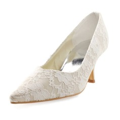 Women's Lace Satin Spool Heel Closed Toe Pumps With Stitching Lace (047010771)
