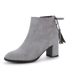Frauen Veloursleder Stämmiger Absatz Absatzschuhe Stiefel Stiefelette mit Reißverschluss Quaste Schuhe (088143735)
