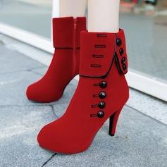Frauen Veloursleder Stöckel Absatz Stiefel Stiefel-Wadenlang mit Niete Reißverschluss Schuhe (088137095)