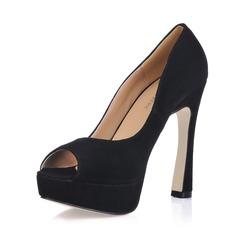 Suede Chunky Heel Peep Toe Platform Sandals (085017480)