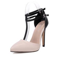 Donna PU Tacco a spillo Stiletto Punta chiusa con Fibbia scarpe (085153095)