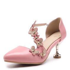 Donna Similpelle Tacco a spillo Sandalo Stiletto Punta chiusa con Rivet Fiore scarpe (085172774)