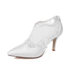 Frauen Satin Stöckel Absatz Stiefel Geschlossene Zehe mit Reißverschluss (047077190)