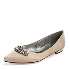 Women's Leatherette Flat Heel Closed Toe Flats With Crystal (047192754)