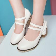 Donna Similpelle Tacco spesso Stiletto Piattaforma Punta chiusa con Bowknot scarpe (085153089)