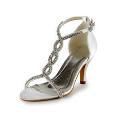 Kvinder Satin Stiletto Hæl sandaler med Spænde Rhinsten (047005860)