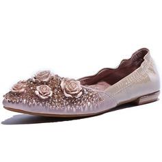 Egte Lær Flat Hæl Flate sko Lukket Tå med Rhinesten Blomst sko (086046384)