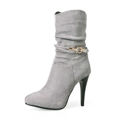 Frauen Veloursleder Stöckel Absatz Absatzschuhe Stiefel Stiefel-Wadenlang mit Strass Reißverschluss Schuhe (088143722)