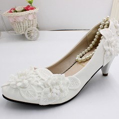 Women's Leatherette Chunky Heel Closed Toe Pumps With Flower Pearl (047201451)