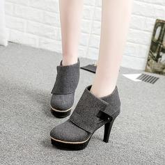 Frauen Leinwand Stöckel Absatz Stiefel Stiefelette mit Niete Schuhe (088137081)
