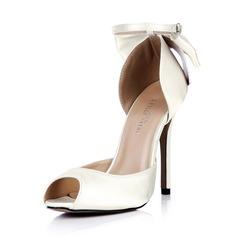 Vrouwen zijde als satijn Stiletto Heel Peep Toe Pumps met strik Gesp (047042634)
