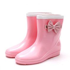 Frauen PVC Keil Absatz Keile Stiefel Regenstiefel mit Bowknot Schuhe (088146820)
