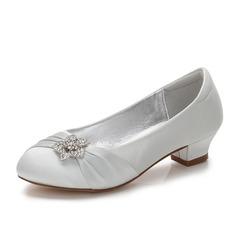Mädchens Round Toe Geschlossene Zehe Mary Jane Seide wie Satin niedrige Ferse Blumenmädchen Schuhe mit Strass Geraffte (207202101)