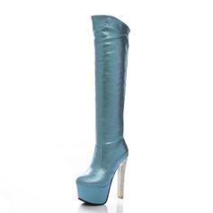 Femmes Similicuir Talon stiletto Plateforme Bottes hautes chaussures (088056362)