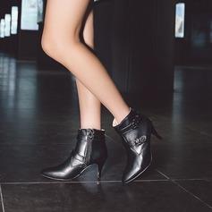 Frauen PU Stöckel Absatz Absatzschuhe Stiefel Stiefel-Wadenlang mit Schnalle Reißverschluss Schuhe (088130800)
