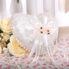 Heart Shaped Ring Pillow in Organza With Faux Pearl/Lace Lined (103018258)