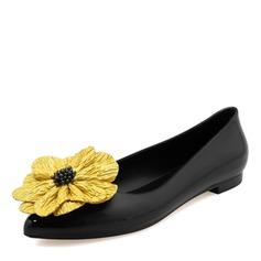Donna PVC Ballerine Punta chiusa con Fiore scarpe (086165235)
