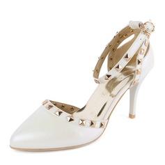 Donna Similpelle Tacco a spillo Sandalo Stiletto Punta chiusa con Rivet scarpe (085168418)