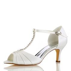 Femmes Soie comme du satin Talon stiletto À bout ouvert Sandales avec Plissé Cristal (047187719)