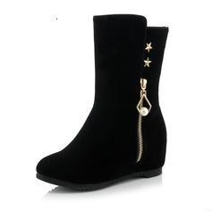 Frauen Wildleder Keil Absatz Keile Stiefel Stiefel-Wadenlang mit Strass Schuhe (088093598)