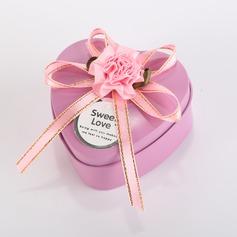 Amour doux Forme en cœurs Boîte cadeau en fer avec Rubans/Arc (Lot de 12) (050096024)