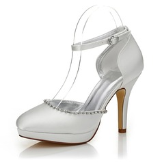 Frauen Satin Stöckel Absatz Geschlossene Zehe Absatzschuhe Färbbare Schuhe mit Strass (047088666)