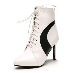 Frauen Kunstleder Stöckel Absatz Stiefel Stiefelette mit Reißverschluss Zuschnüren Schuhe (088172660)