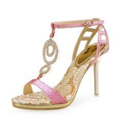 Vrouwen Sprankelende Glitter Stiletto Heel Sandalen Peep Toe Slingbacks met Kristal Sprankelende Glitter Hol-out schoenen (087113611)