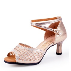 Kvinnor Microfiber läder Klackar Latin Dansskor (053175308)