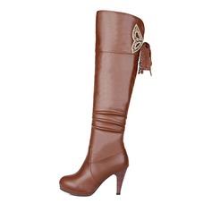 Frauen Kunstleder Stöckel Absatz Plateauschuh Stiefel über Knie mit Reißverschluss Schuhe (088097133)